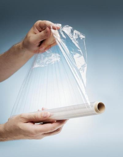 a sheet of plastic wrap